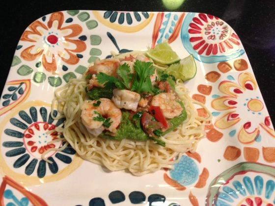 Lime Cilantro Pesto Shrimp Pasta