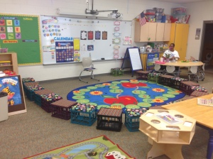 Sarajane MADE all of these little seats for her students! Cushions and all!